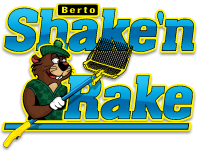 Shake'n Rakes Logo for cleaning golf course bunker sand.